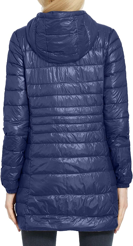 Zilosconcy Mantel Damen Wintermantel Lang Daunenmantel Leicht Winter Warm mit Kapuze Reißverschluss Elegant Steppmantel Übergangsmantel I