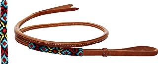 Horse Leather Western Saddle Tack Harness Over and Under Beaded Whip 700RT04