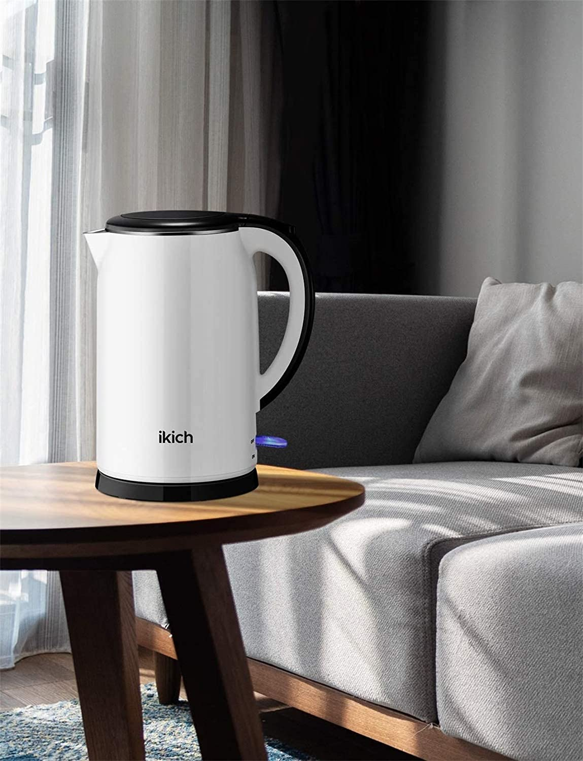 White IKICH Stainless Steel Electric Kettle LED Indicator 1.5L Double Wall Cool Touch Water Boiler 2000W BPA-free Cordless Water Kettle with Auto-shutoff /& Boil-dry Protection Collectable Cable
