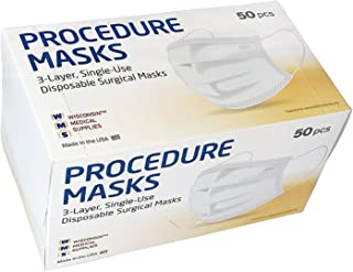 WMS Wisconsin Medical Supplies, 3-Layer Face Masks, MADE IN USA, 2 Pack