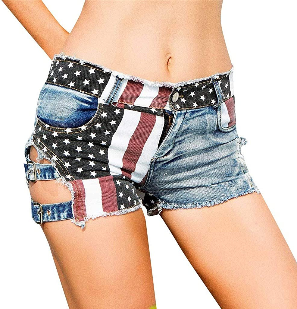 Forthery Women'S Sexy Low-Rise American Flag Print Hole Bandage Ripped Denim Shorts Usa 4Th Of July