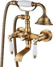Airuida Antique Brass Wall Mount Bathtub Faucet With Ceramic Handheld Shower Sprayer Double Ceramic Lever Handles Bathroom...