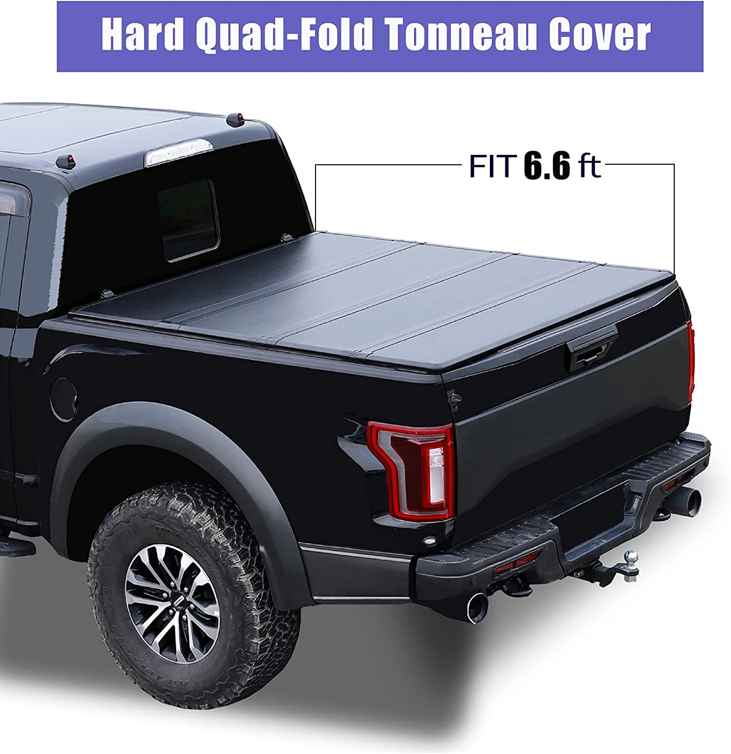 Beydato Auto SALENEW very popular Max 89% OFF 6.6FT Hard Quad Fold Bed Fits for Truck Cover 2014-