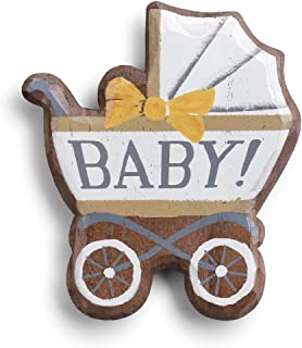 Baby Carriage Arrival White and Brown 7 x 6 Paulownia Wood Magnetic Token