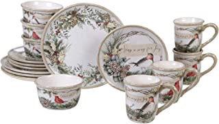 Certified International 89044RM Holly and Ivy Dinnerware,Dishware, Multicolored