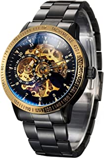 Men's Black Stainless steel Gold dial Steampunk Skeleton Luxury Casual Automatic Mechanical Wristwatch