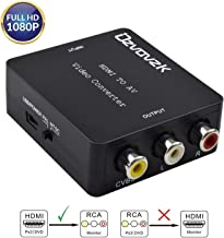 Ozvavzk HDMI a AV,HDMI a RCA Adaptador Compuesto HDMI Audio Vídeo Convertidor Soporte PAL/NTSC Formato de TV Interruptor.