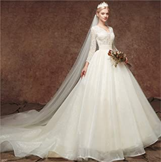 Wedding Dress Long Sleeves A Line Lace Jewel Applique Women's Chapel Evening Dress XXL
