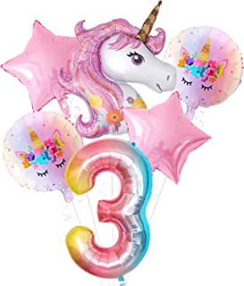 Pink Unicorn 3rd Birthday Decorations Set - Large, Pack of 6 I Rainbow Number 3 Foil Balloon I Star and Round Mylar Balloo...