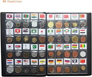 60 Countries Coins Collection Set Fine Coins 100% Original Genuine World Coin with Leather Collecting Album Taged by Country Name and Flag (60 Countries Coins Album)