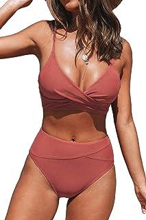 Women's Red Twist High Waist V Neck Bikini Sets