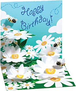 3D Greeting Card - BEES & FLOWERS - Birthday