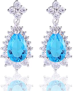 GULICX Fashion Jewelry Women Piercing Earrings Teardrop Dangle Drops Cubic Zirconia Silver Tone