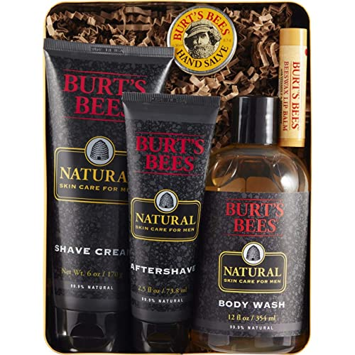 Burts Bees Mens Gift Set 5 Natural Products In Giftable Tin Shave Cream