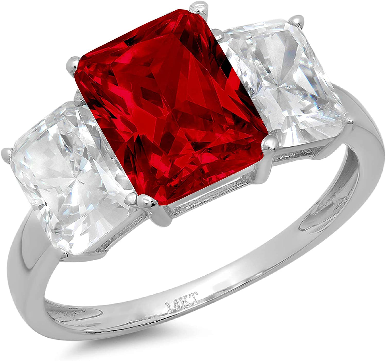 4.0 ct Brilliant Emerald Cut 3 Stone Solitaire with Accent Natural Deep Pomegranate Dark Red Garnet Gemstone Ideal VVS1 Engagement Promise Statement Anniversary Bridal Wedding Ring 14k White Gold