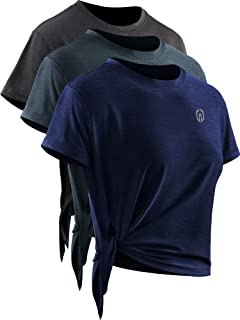 Neleus Women's Quick Dry Athletic Workout Shirt Yoga Top,8056,3 Pack,Black (Grey)/Dary Grey/Navy,US S,EU M