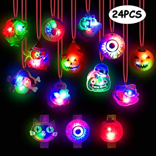 Halloween Lights- 24 Pack Halloween LED Necklace Pumpkin Ghost Pirate Spider Eyeball Necklace Halloween Party Favor Light up Flashing Decoration Trick Treats Gift Bag Fillers for Women Men Family Pack