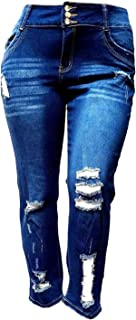 Jack David/Wax Jeans L,Square Womens Plus Size Stretch Distressed Ripped Blue Skinny Denim Jeans