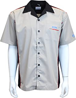 David Carey Ford Performance Pit Crew Shirt – Grey & Black – Button Up Collared Short Sleeve Mechanic Camp/Club Shirt