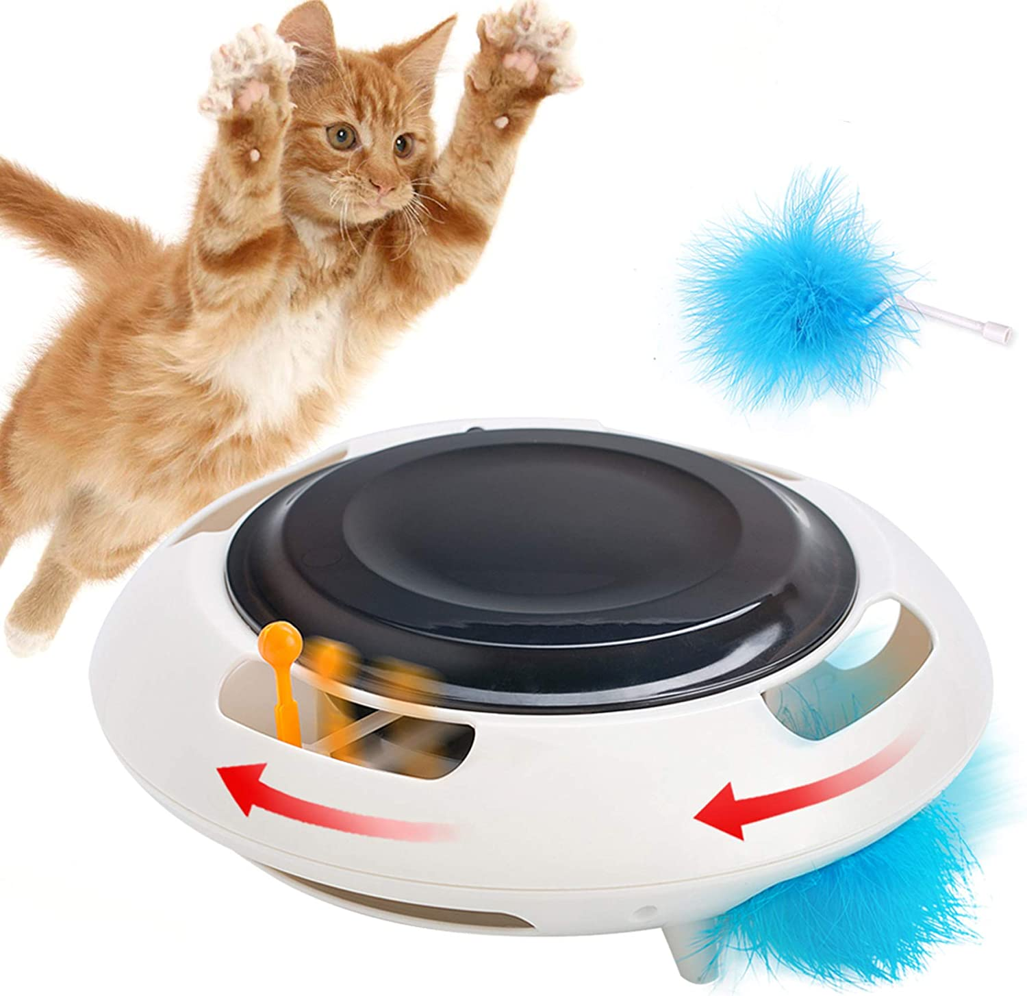 Interactive Cat Toys Automatic Kitten Toy with Feather,Funny Pet Teaser Toys for Indoor Cats