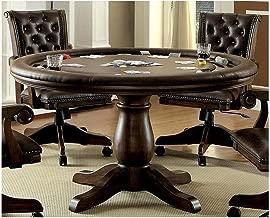 FA Furnishing Paddington 54 inch Round Dining Game Table in Dark Brown Wood