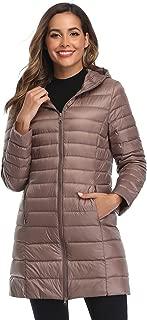 Women's Winter Packable Down Jacket Plus Size Lightweight Long Down Outerwear Puffer Jacket Hooded Coat
