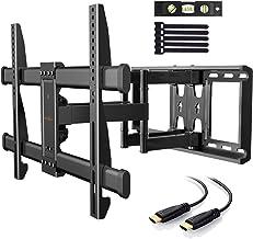 Support Mural TV Perlegear pour écrans 37-75 Pouces LED LCD Plasma et courbé Support TV Inclinable et orientable avec câbl...