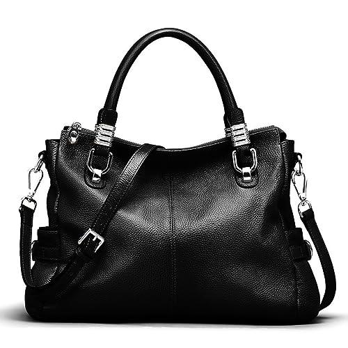 S-ZONE Women s Vintage Genuine Leather Handbag Shoulder Bag Satchel Tote  Bag Purse Crossbody Bag ff47a5588e4d1