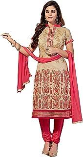 Ethnicset Women's Cotton Unstitched Salwar Suit Material (eye-cream-E _Beige_ Free Size)