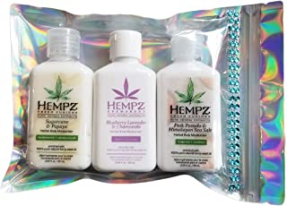 Hempz MOISTURIZER 3 PACK Sugarcane Papaya, Pink Pomelo and Blueberry Lavender Chamomile (2.25 ounces each bottle) with cle...