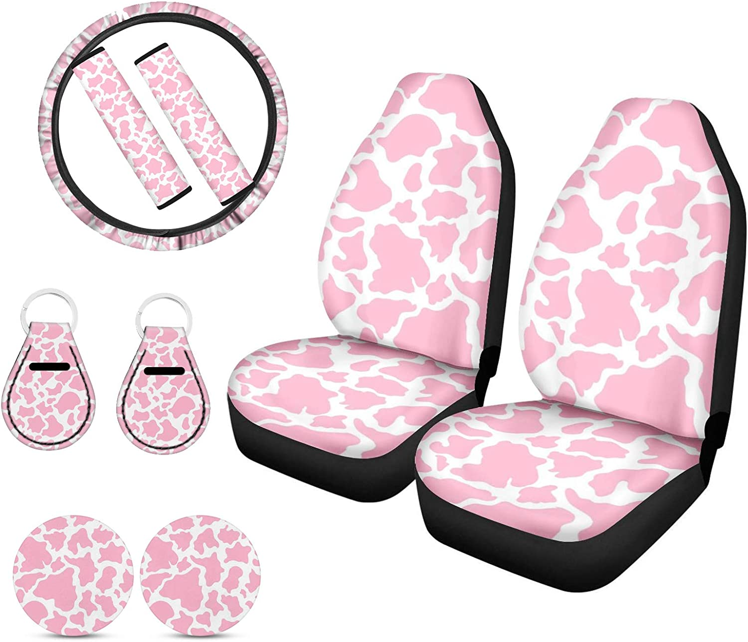 Upetstory Pink Cow Seat Covers Ste Bucket New York Mall Manufacturer direct delivery with Front
