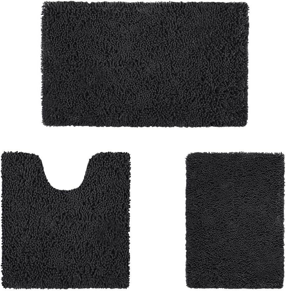 HOMEIDEAS Excellence 3 Fort Worth Mall Pieces Bathroom Rugs Set Soft Non and Ultra Slip Abs