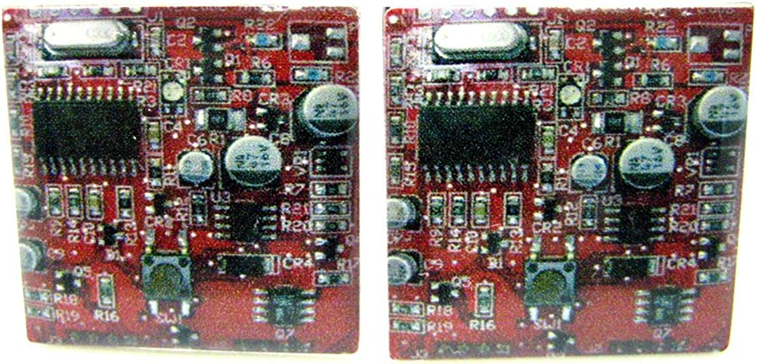 Red Circuitry Cufflinks