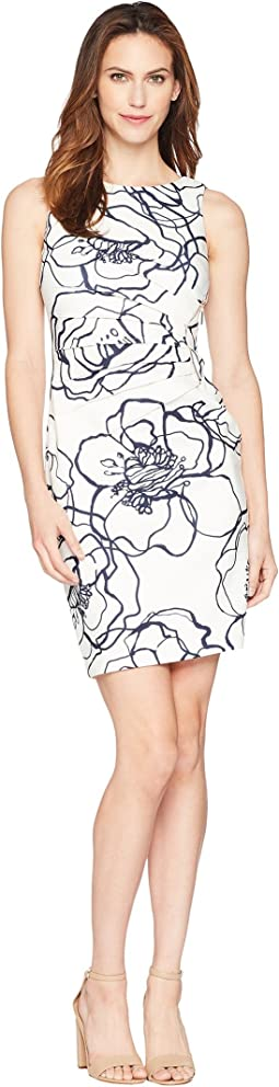 Sleeveless Rounded Neck Floral Dress w/ Ruched Side