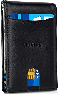 Men's Minimalist Genuine Leather Wallet with Money Clip, Slim Wallet Front Pocket RFID Blocking BIfold Leather Card Holder...