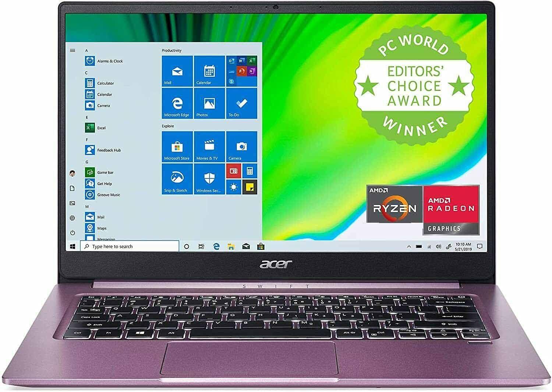 Acer Swift 3 Laptop SF314-42 in Purple AMD Ryzen 5 4500U Hexa-Core Processor 8GB RAM 256GB SSD Fingerprint Reader Back-lit Keyboard Windows 10 Home