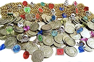Nikki's Knick Knacks 204 Piece Pirate Treasure Set- Gold Coins, Diamond Gems, Gold Necklaces, and Rings!