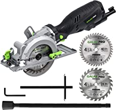 "GALAX PRO 5.8 Amp 3500 RPM Mini Circular Saw, Max. Cutting Depth 1-11/16""(90°),1-1/8""(45°)Compact Saw with 4-1/2"" 24T and 40T TCT Blades, Vacuum Adapter, Blade Wrench, and Rip Guide"