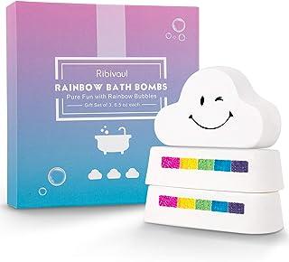 Rainbow Bath Bombs Gift Set, Ribivaul 3 Extra-Large 6.5 oz Handmade Bath Bombs with Natural Ingredients, Cloud Bath Bomb w...