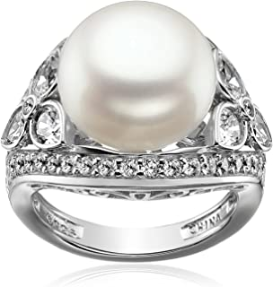 Platinum-Plated Sterling Silver Cubic Zirconia Vintage Freshwater Cultured Pearl Cocktail Ring