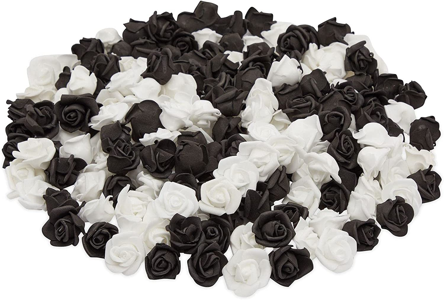 Mini Artificial Roses, 1-in Faux Flower Heads for Crafts, Decor (Black, White, 200 Pack)