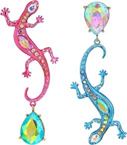 Colorful Non-Matching Lizard Drop Earrings