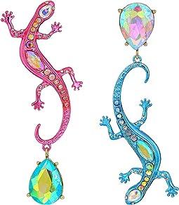 Colorful Non-Matching Lizard Drop Earrings