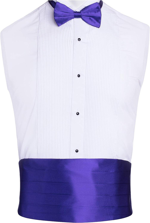 Classy Purple SILK Cummerbund and Bow Tie Set with Box