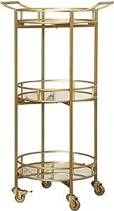 Abbyson Living 3 Tier Cylinder Gold Bar Cart