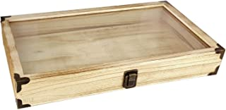 Mooca Oak Wooden Color Glass Top Jewelry Display Case Accessories Storage Box with Brass Corners