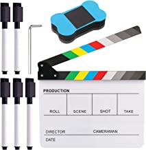Glarks 8Pcs 10x12inch Colorful Acrylic Film Directors Clapboard Set, Plastic Film Clapboard Cut Action Scene Clapper Board with 5 Marker Pens, Hex Wrench and Blackboard Eraser