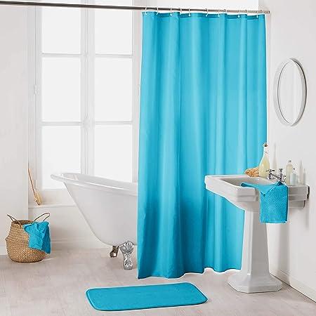 douceur d'intérieur 1800699 Rideau de Douche avec Crochets, Polyester, Turquoise, 180 x 200 cm