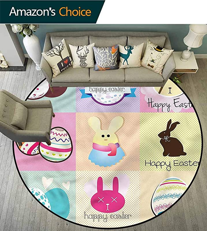 RUGSMAT Easter Round Kids Rugs Bunnies And Eggs Checkered Non Slip No Shedding Kitchen Soft Floor Mat Round 31