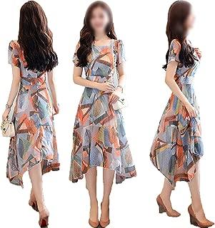 Long Round Neck Short Sleeve Chiffon Dress